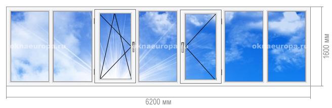 Остекление окнами ПВХ лоджии 1605-9