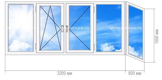 Остекление окнами ПВХ балкона 1605-9