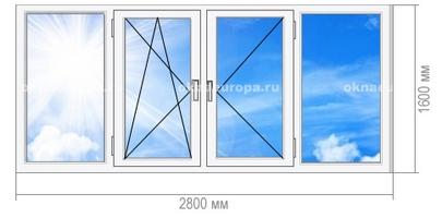 Остекление окнами ПВХ балкона 1605-12