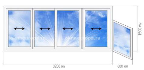 Алюминиевое остекление балкона 1 515 9Ш