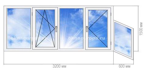 Пластиковое остекление балкона 1-515/9Ш