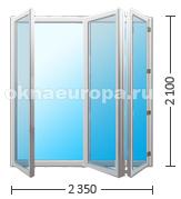 Складная дверь на три секции