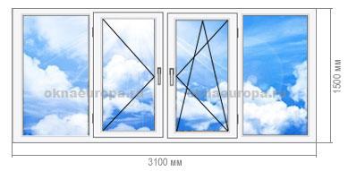 Остекление балкона пластиковыми окнами П 43