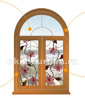 Витраж на арочном окне