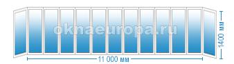 Цены на остекление балкона 11 метров