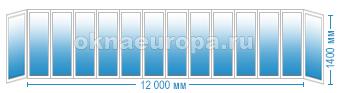 Цены на остекление балкона 12 метров