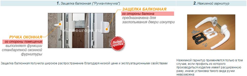 Фурнитура для балконной двери ПВХ