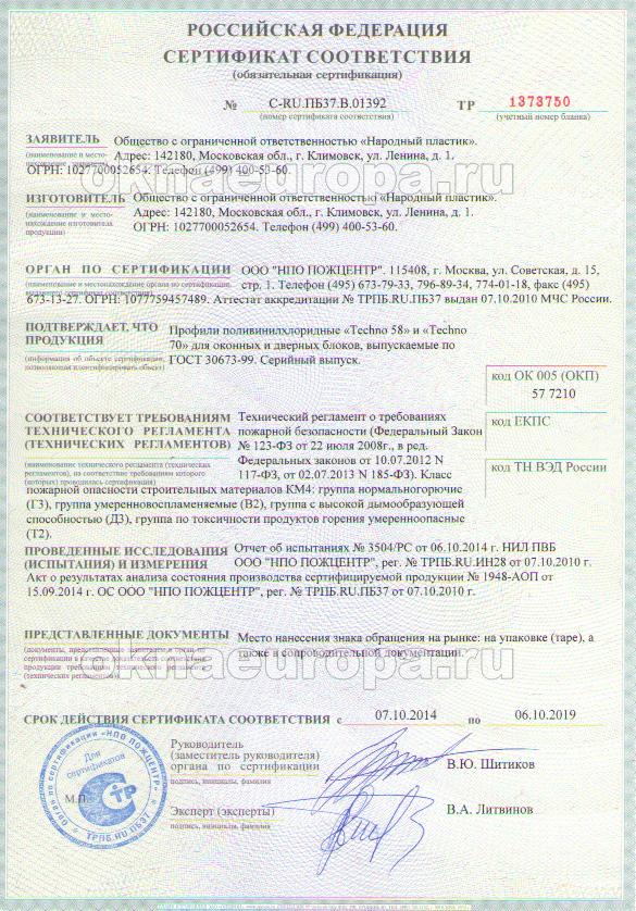 Сертификат соответствияпрофильной системы Novotex Termo
