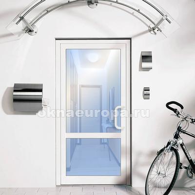 Стеклянные белые двери ПВХ