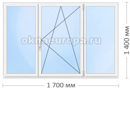 Стандартное трехстворчатое окно