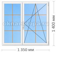Типовое окно ПВХ с применением раскладки