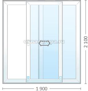 Раздвижная пластиковая дверь со стеклопакетом