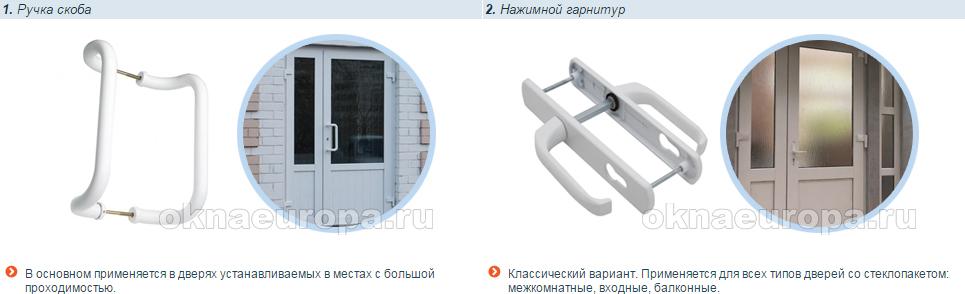 Ручки для пластиковых дверей со стеклопакетом